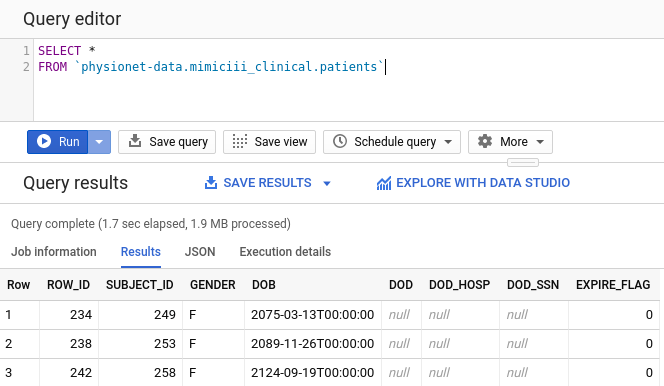 Example patients query